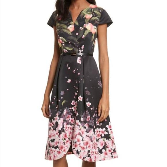 21ba846b996 Ted Baker London Dresses | Ted Baker Peach Blossom Faux Wrap Midi ...